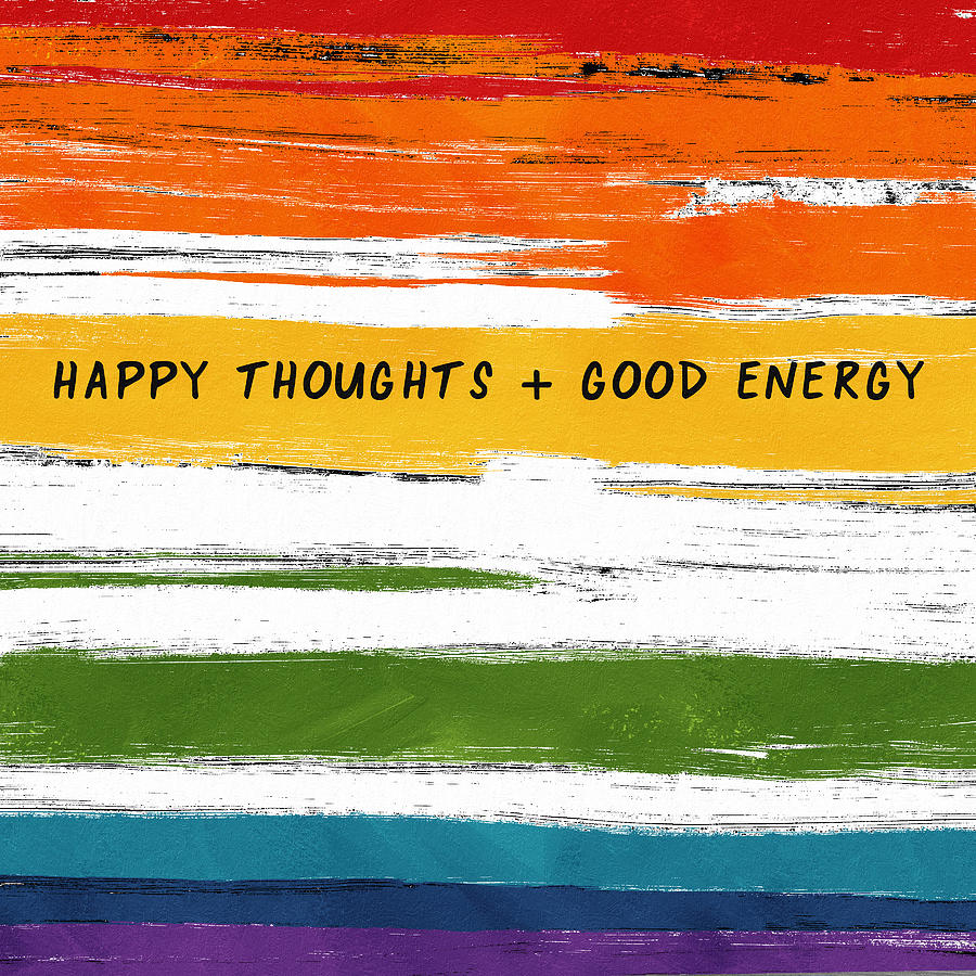 Rainbow Mixed Media - Happy Thoughts Rainbow- Art By Linda Woods by Linda Woods