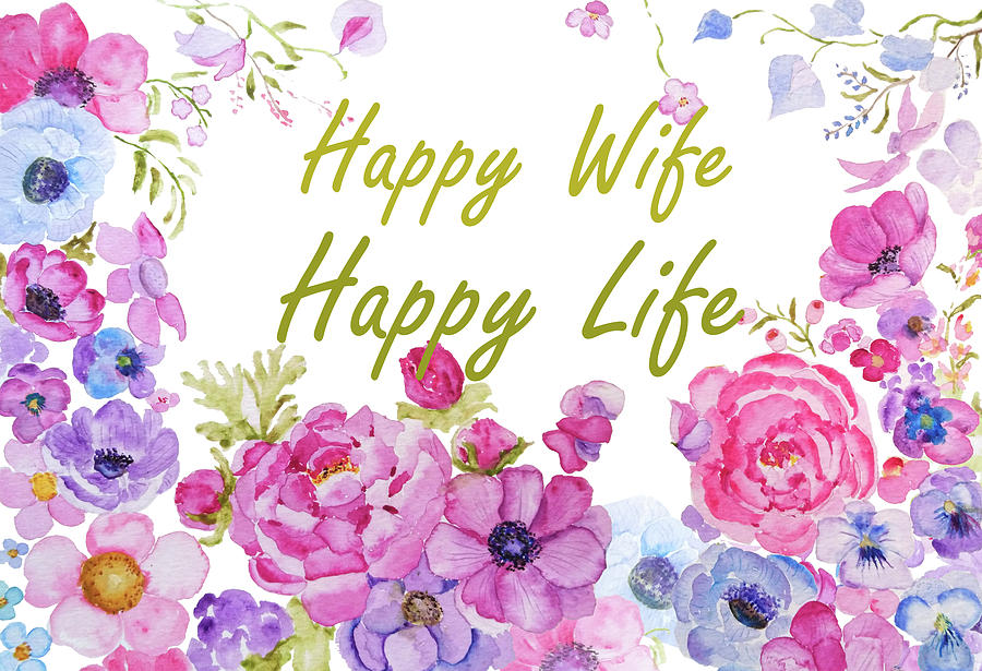 happy wife happy life quote by Color Color