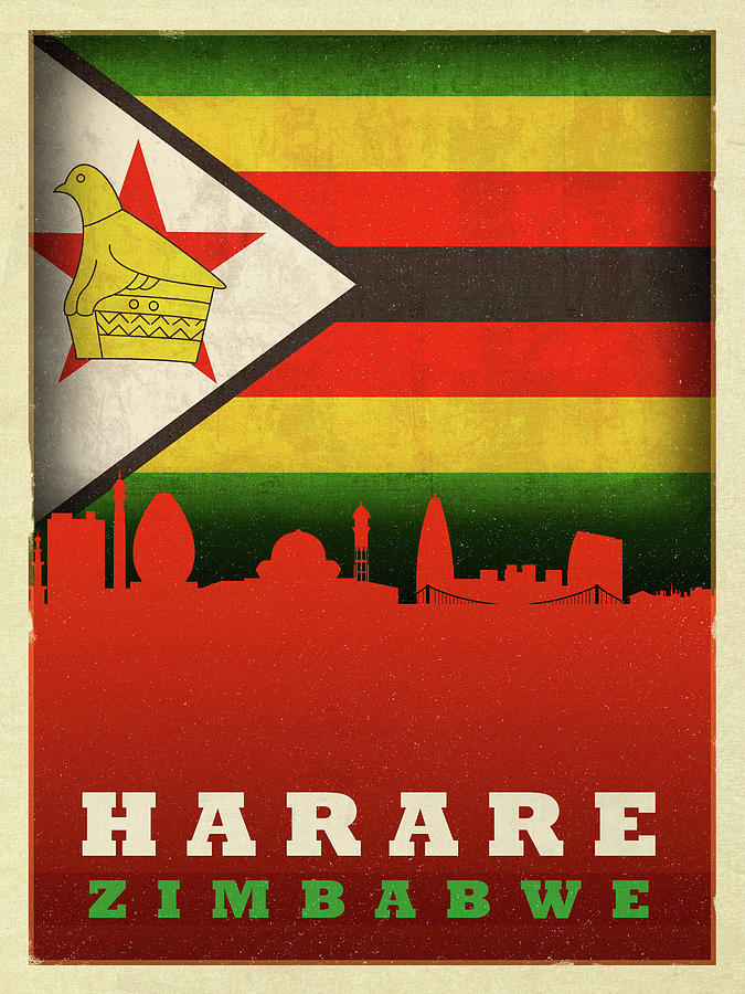 Harare Mixed Media - Harare Zimbabwe World City Flag Skyline by Design Turnpike