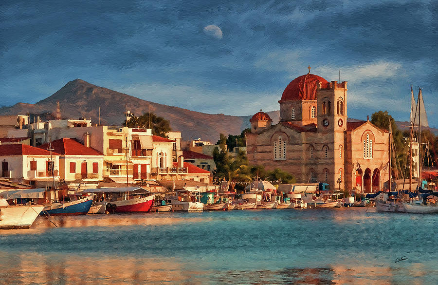 Harbor at sunset on Greek Island of Aegina - DWP1627474 by Dean Wittle