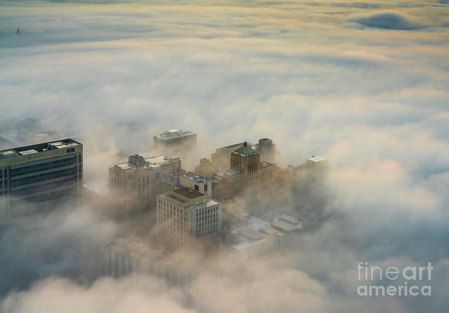 Seattle Photograph - Harborview In The Clouds by Mike Reid