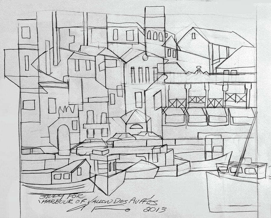 Cubism Drawing - Harbour Of Vallon Des Auffes by Anthony Falbo