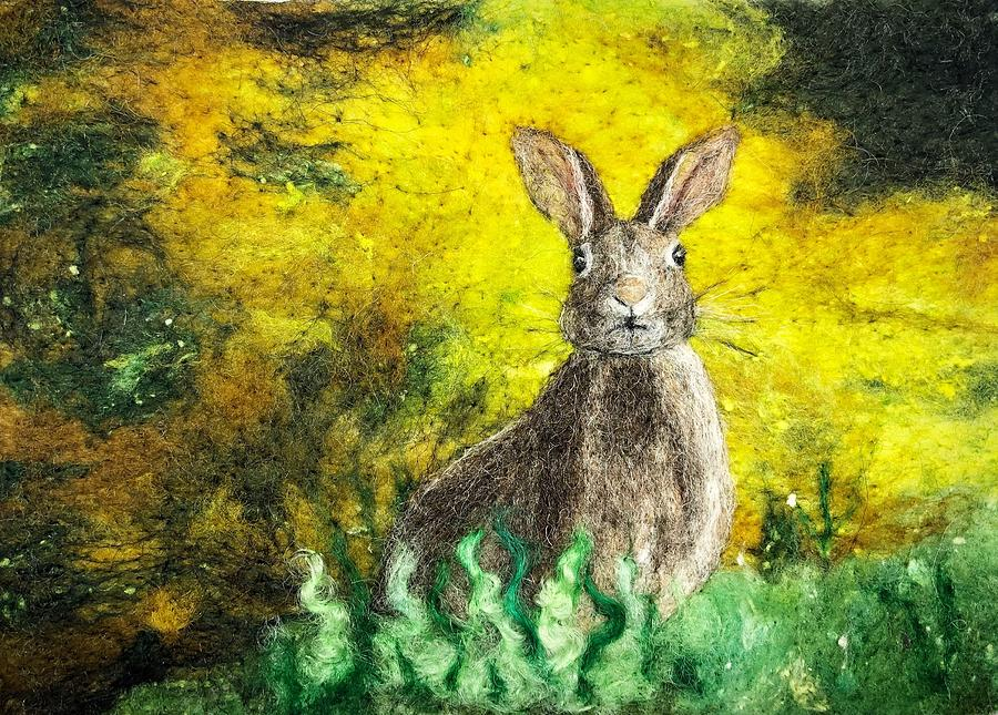 Hare in Yellow Field by Ushma Sargeant