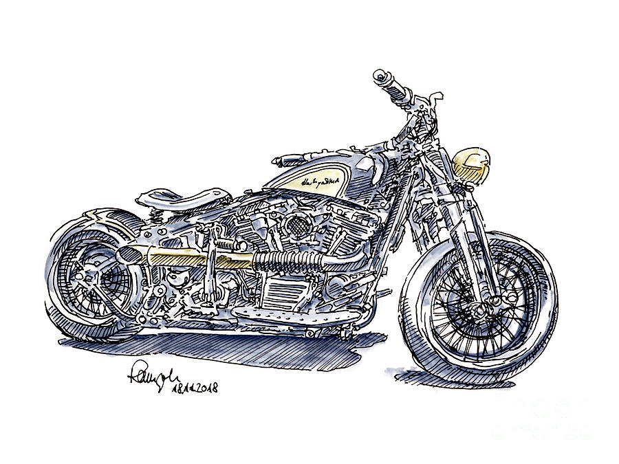 Harley Davidson Heritage Softail Motorcycle Ink Drawing And Wate