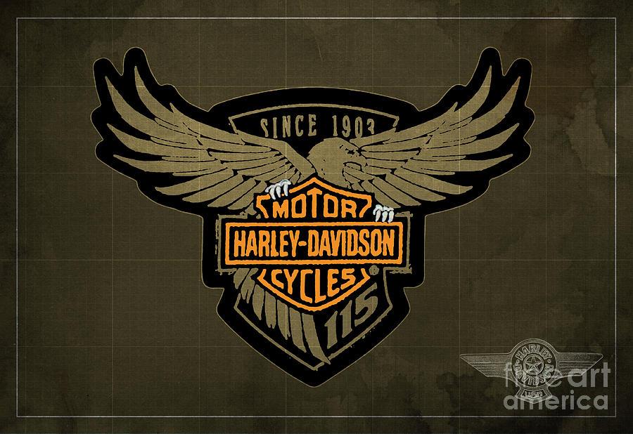 Blueprint Digital Art - Harley Davidson Old Vintage Logo Fuel Tank Motorcycle Brown Background by Drawspotntage Logo Fuel Tank Motorcycles Illustrations