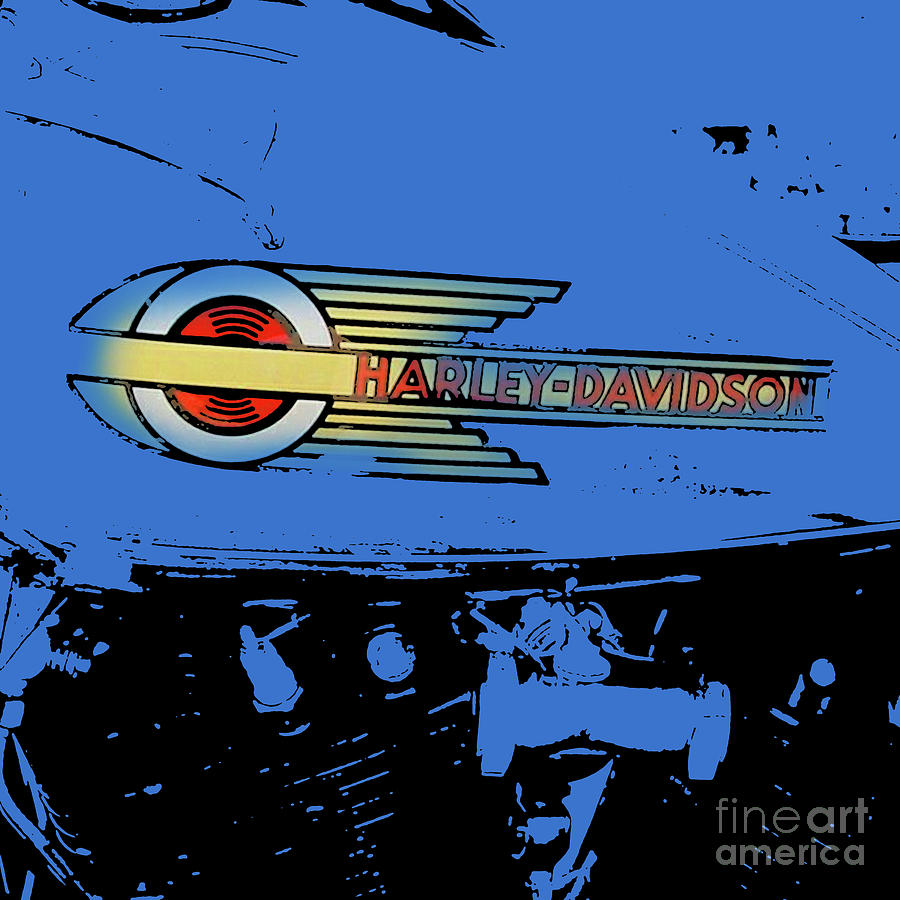 Gs Digital Art - Harley Davidson Tank Logo Blue Artwork by Drawspots Illustrations