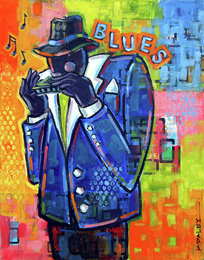 Blues Painting - Harmonica Player by Ken Daley