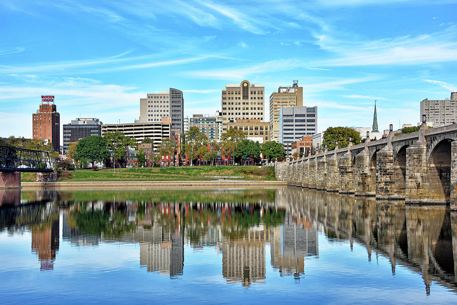 Harrisburg Photograph - Harrisburg Pennsylvania - Reflections In The Susquehanna by Brendan Reals