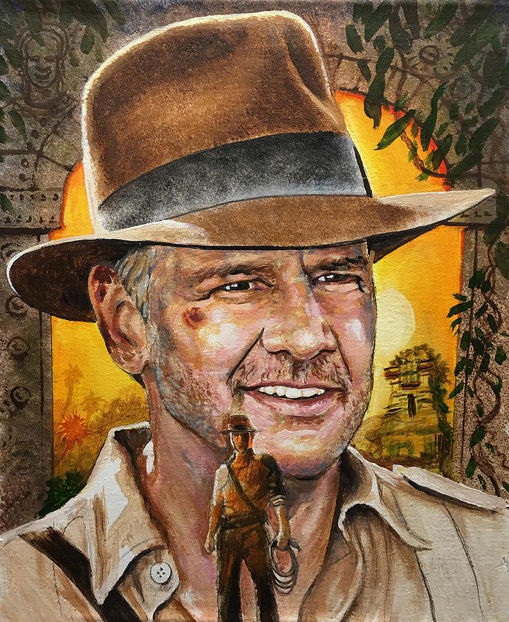 Harrison Ford - Indiana Jones Painting by Robert Korhonen