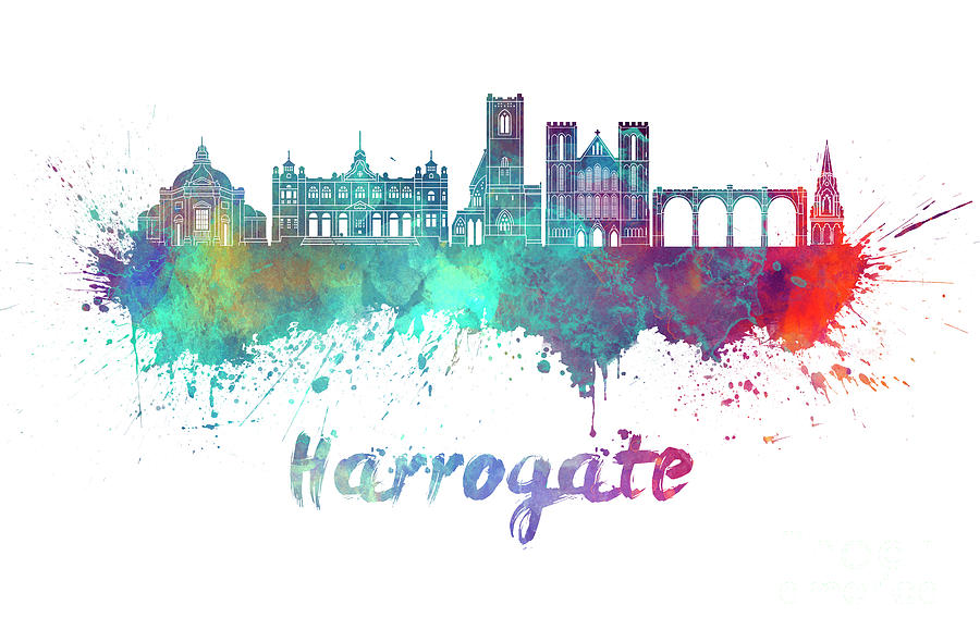 Harrogate skyline in watercolor splatters by Pablo Romero