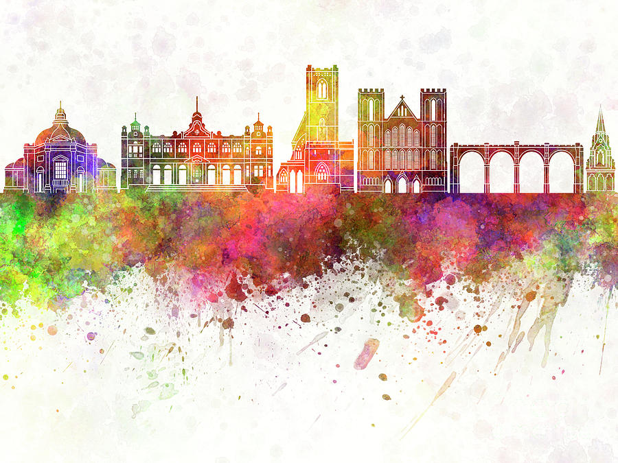 Harrogate skyline watercolor background by Pablo Romero