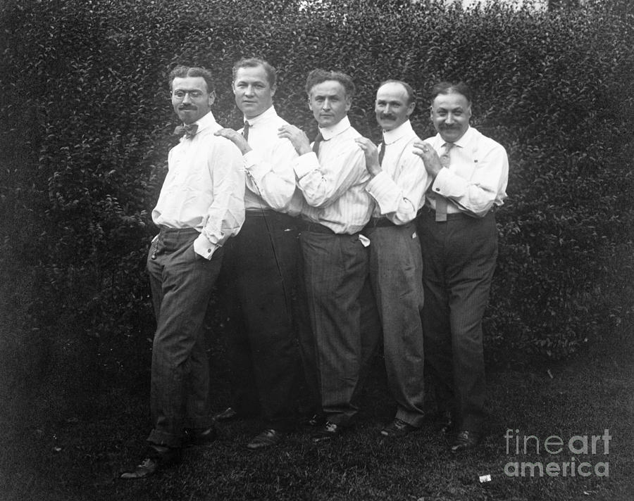 1914 Photograph - Harry Houdini With Brothers by Granger