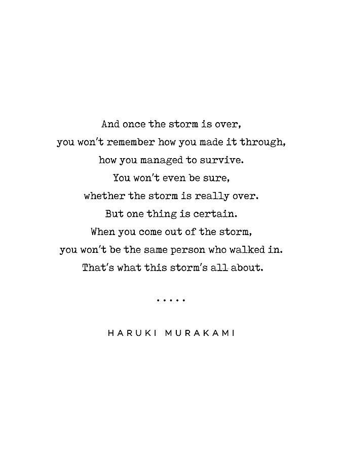 Haruki Murakami Quote 01 Typewriter Quote Minimal Modern Classy Sophisticated Art Prints