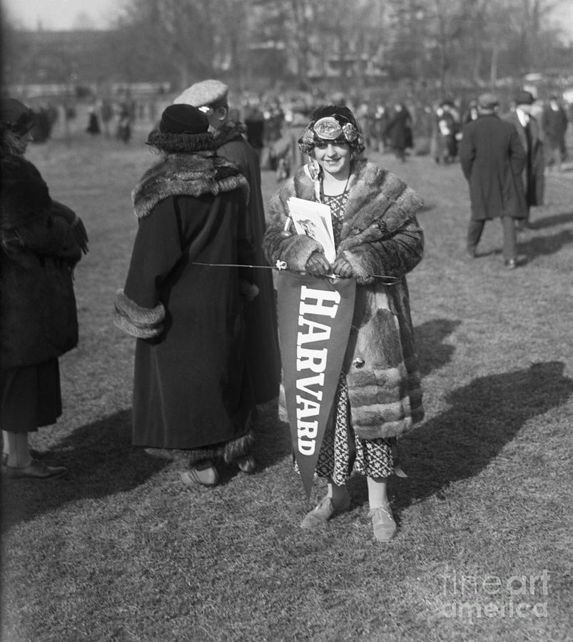 Harvard Fan At Football Game Photograph by Bettmann