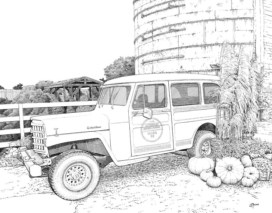 Harvest at Magnolia - Ink by Rick Adleman