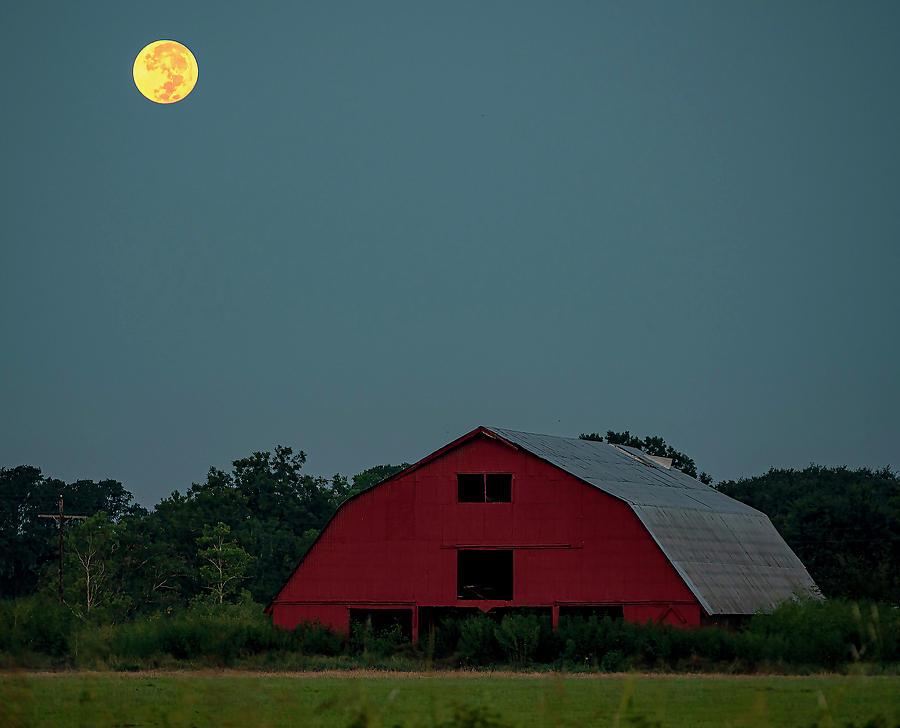 Harvest Moon And Barn Photograph