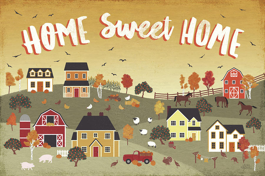 Animals Painting - Harvest Village II by Laura Marshall