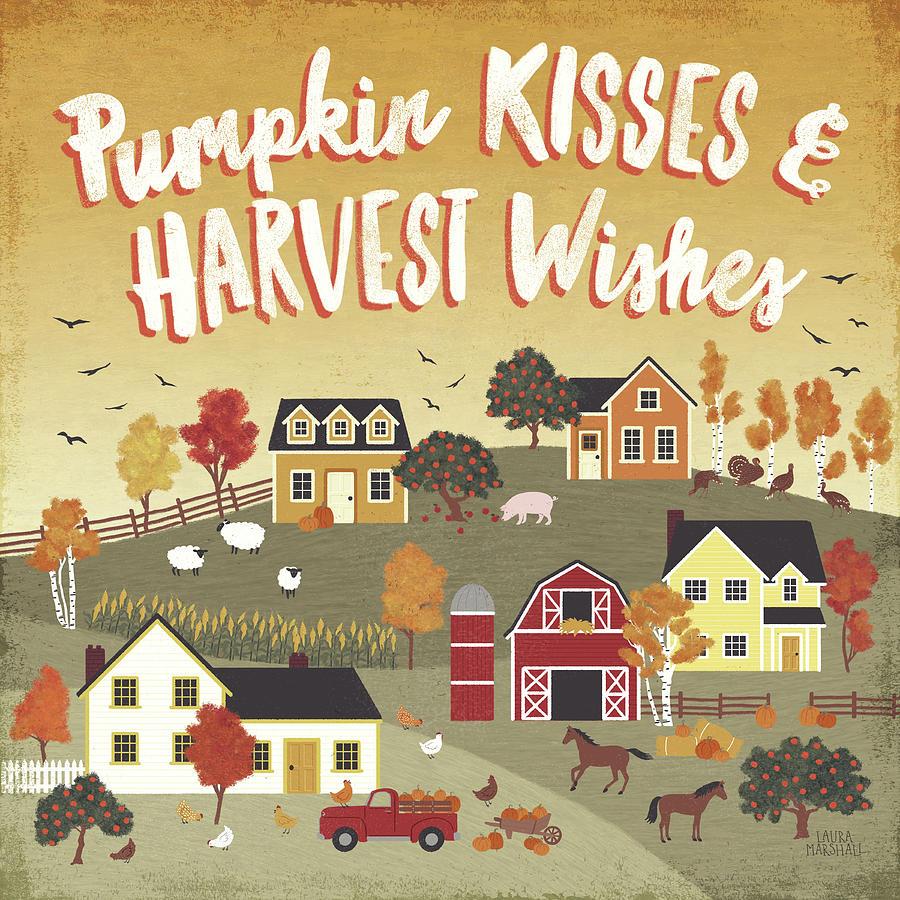 Animals Painting - Harvest Village Iv by Laura Marshall