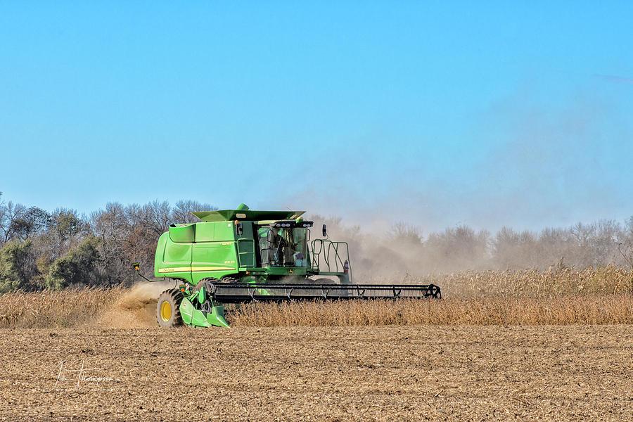 John Deere Photograph - Harvesting Soybeans by Jim Thompson