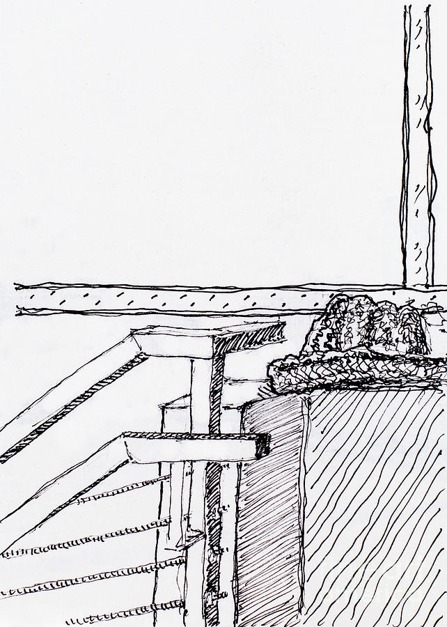 Hat On Ledge By Railing Drawing