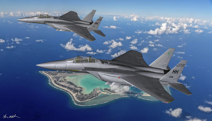 Fighter Digital Art - Hawaiian Air Guard On Patrol - Art by Tommy Anderson