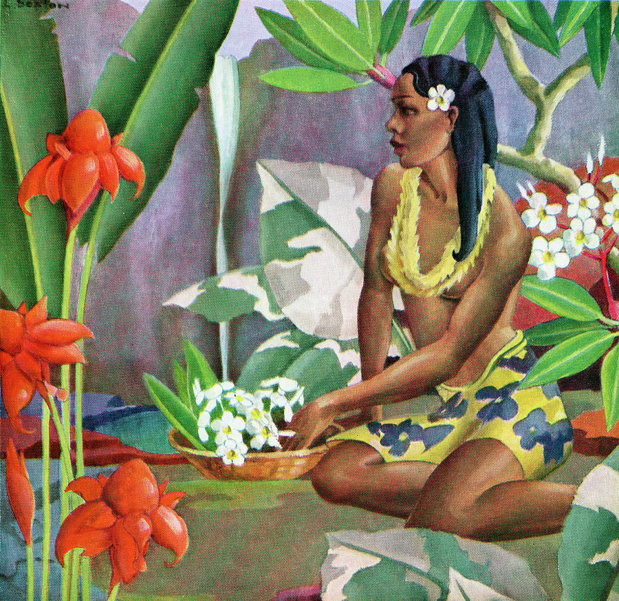 Hawaiian Woman In Landscape Photograph by Graphicaartis