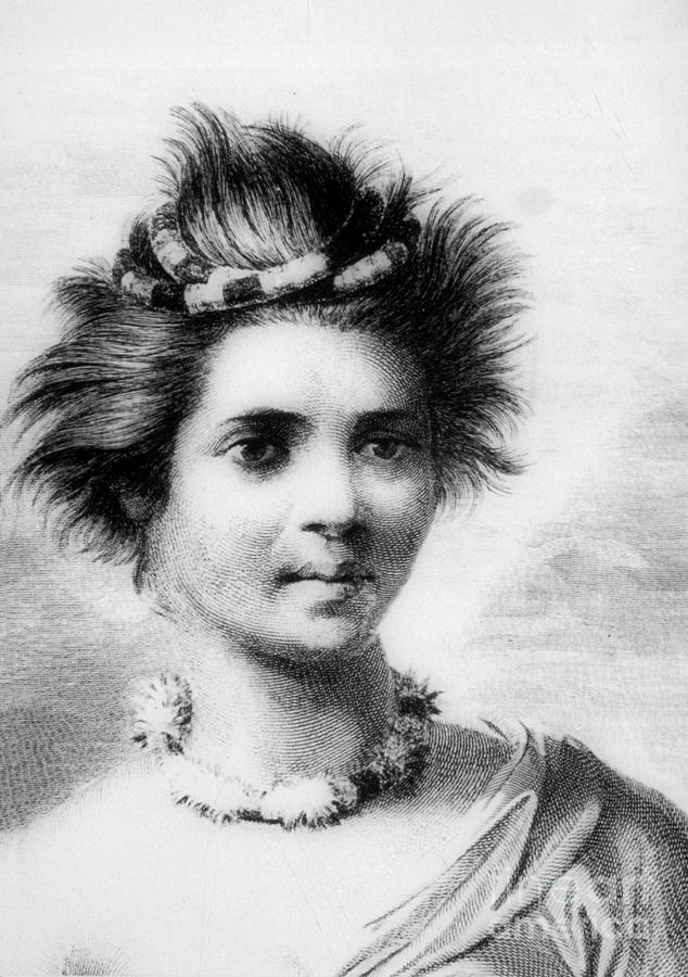 Hawaiian Woman Wearing A Feather Leis Drawing by Print Collector