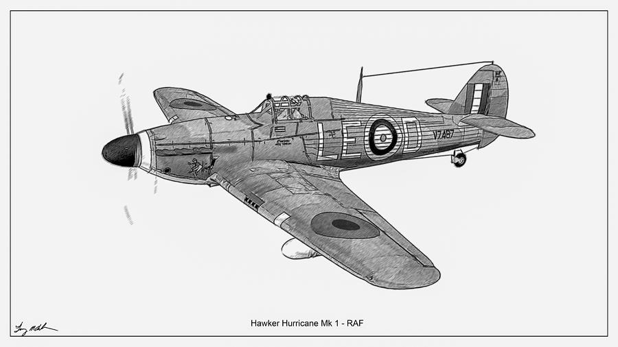 Hawker Hurricane - Sketch  by Tommy Anderson