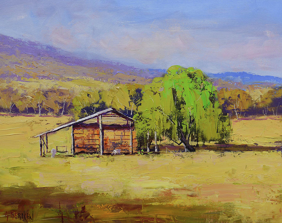 Hay Shed Painting - Hay Shed Tumut by Graham Gercken