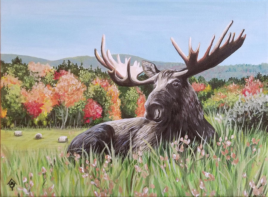 Bull Moose Painting - Hay There, Handsome by Emily Sodders