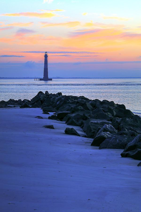 Hazy Sunrise On Morris Island Lighthouse Charleston South Carolina by Carol Montoya