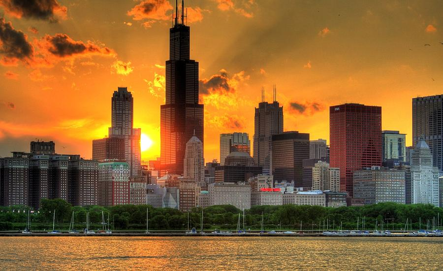 Hdr Chicago Skyline Sunset Photograph by Jeffrey Barry