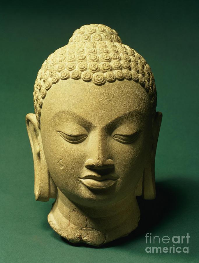 Buddha Sculpture - Head Of The Buddha, Sarnath by Indian School