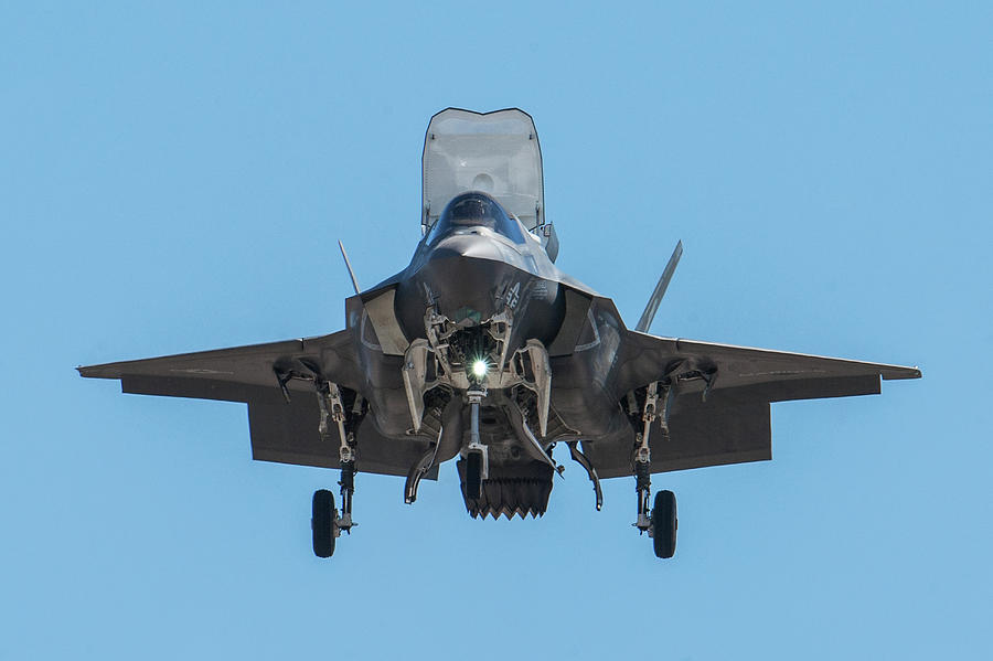 U.s. Marine Corps Photograph - Head-On F-35B Stealth Fighter by Erik Simonsen