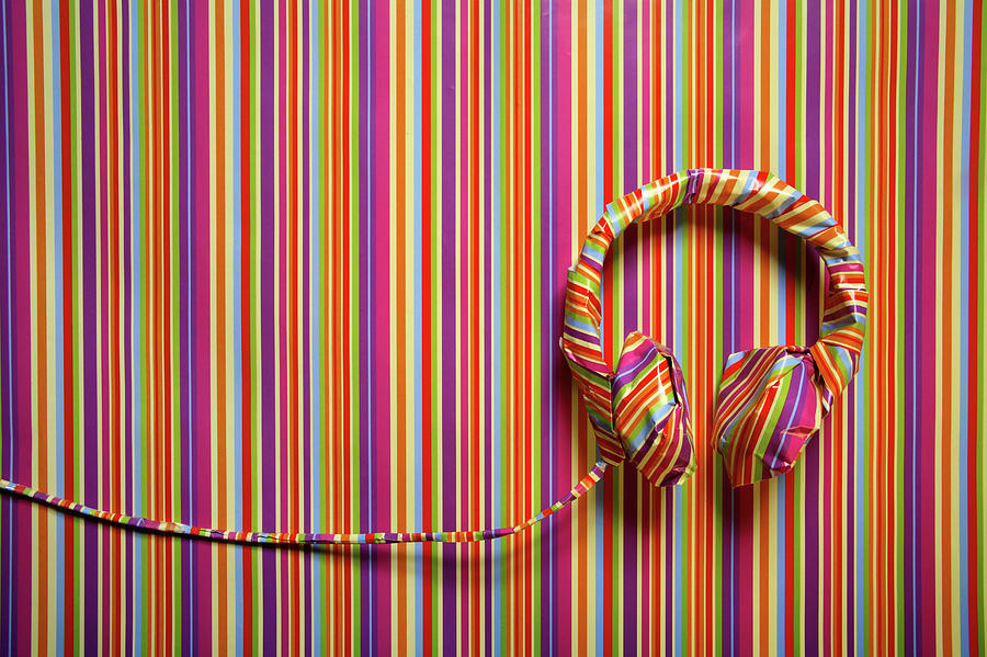Headphones In Striped Paper, Landscape Photograph by Emma Innocenti