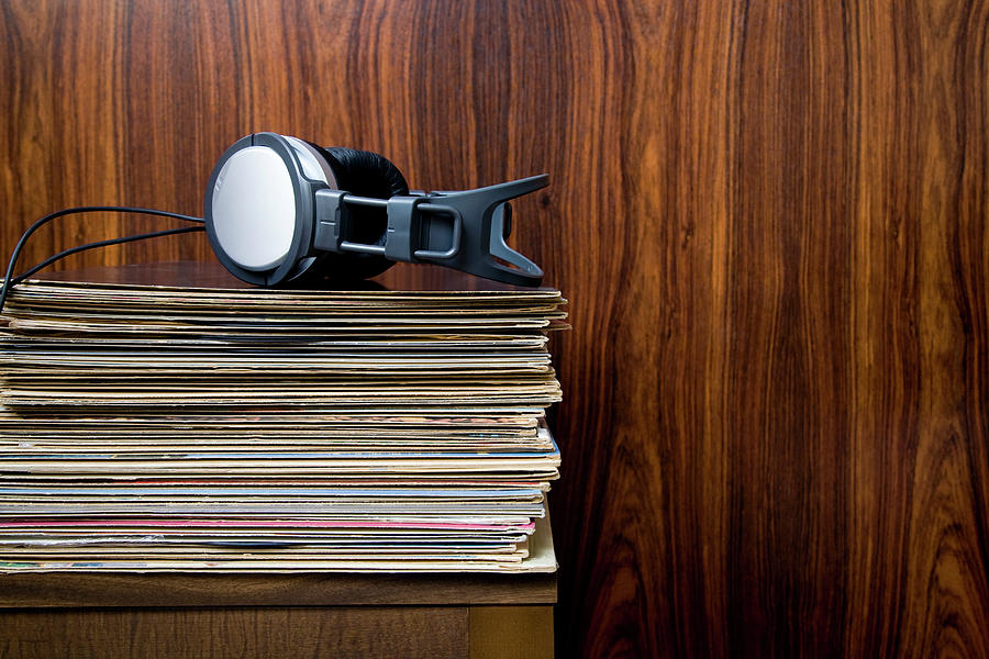 Headphones Laying On Stack Of Vinyl Photograph by Steven Errico