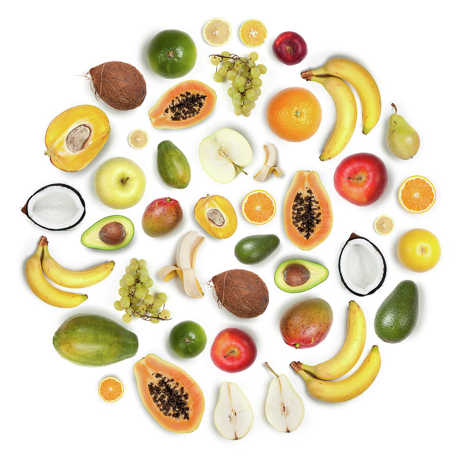 Healthy Fruits Arranged In A Round Photograph by Maxiphoto