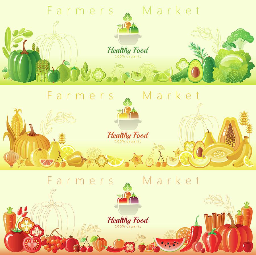 Healthy Organic Food Banners Digital Art by O-che