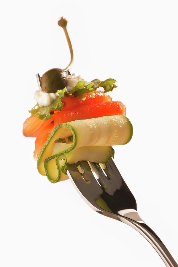 Healthy Salmon Salad On A Fork Photograph by Martin Harvey
