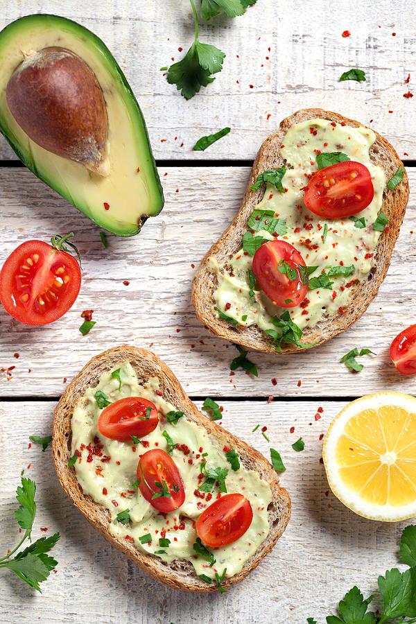 Healthy Whole Grain Bread With Avocado Photograph by Barcin