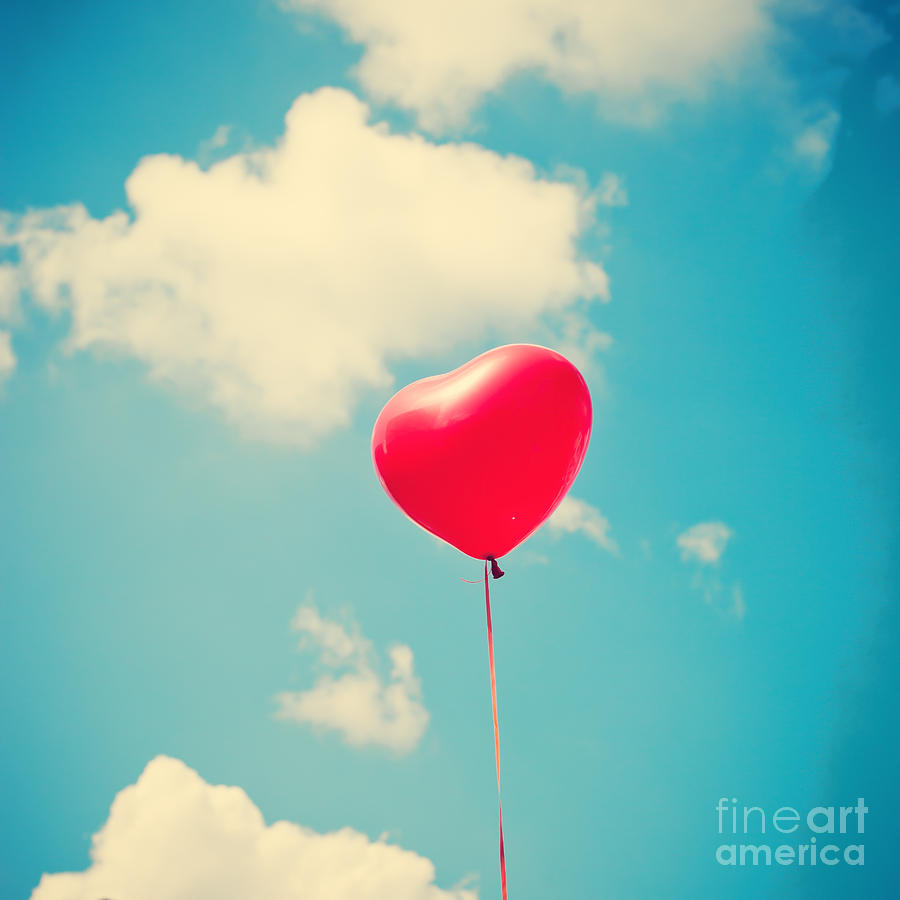 Parchment Photograph - Heart Balloon by Andrekart Photography