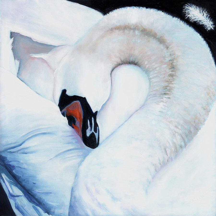 Swan Painting - Heart-centred by Helen White