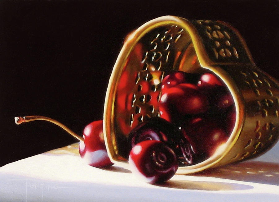 Cherries Painting - Heart of Gold by Dianna Ponting