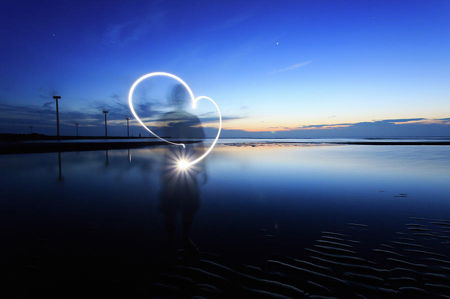 Heart Shape Light Drawing Photograph by Samyaoo