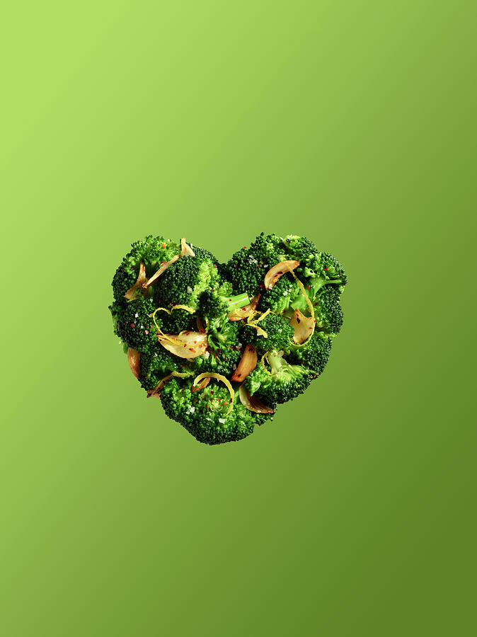 Heart Shaped Broccoli On Green Photograph by Maren Caruso