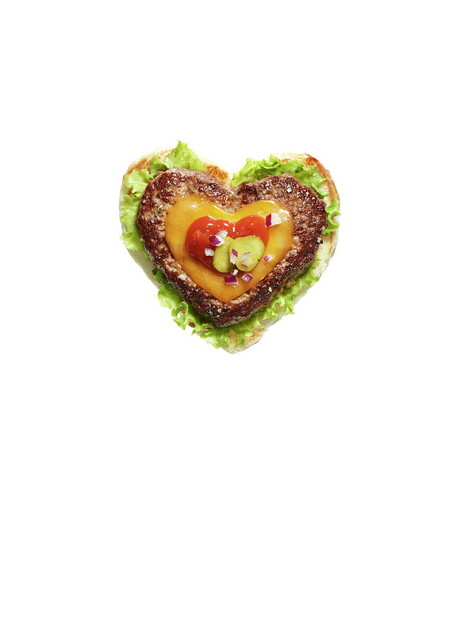 Heart Shaped Cheese Burger On White Photograph by Maren Caruso