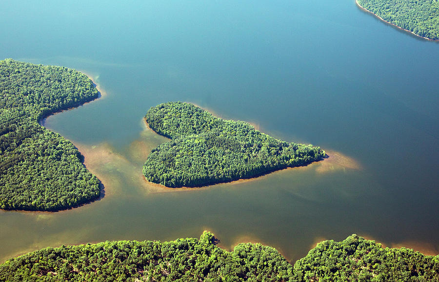 Heart-shaped Island In Lake Photograph by Thomas Jackson