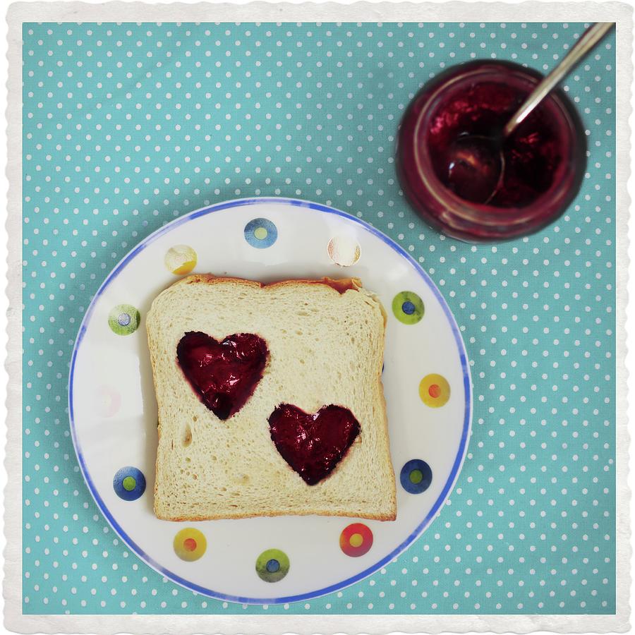 Heart Shaped Jam On Toast Photograph by Julia Davila-lampe