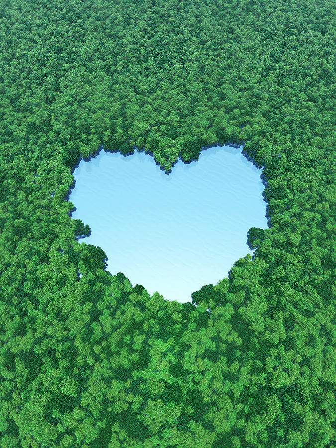 Heart Shaped Lake In Forest Digital Art by I-works/amanaimagesrf