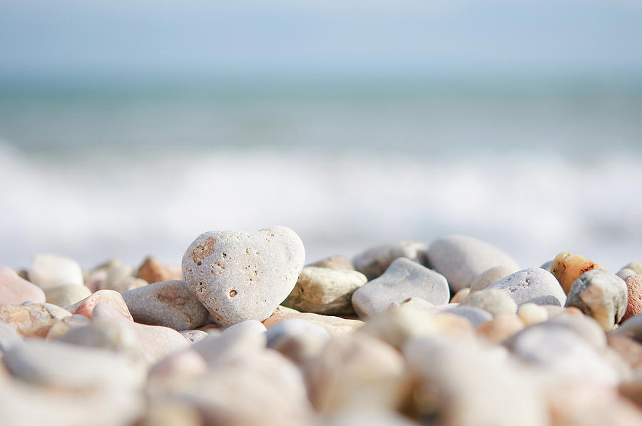Heart Shaped Pebble On The Beach Photograph by Alexandre Fp